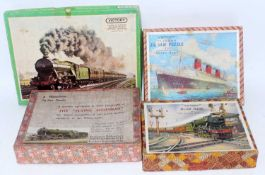 Four various boxed vintage railway and travel interest jigsaws to include a Victory Jigsaw puzzle