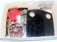 "Small box containing a delve of various steam engine parts and sundries, 5"" gauge locomotive cab"
