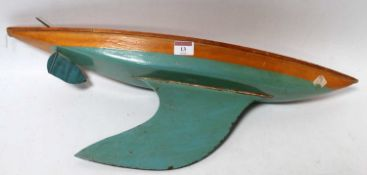 "Bowman wooden yacht hull, polished deck, turquoise below water line, 24"" long, with rudder but no"