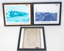 Framed and glazed handbill LNER 'Additional Trains' Aldeburgh branch August 1928 and 2x railway