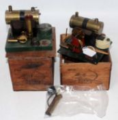 A Bowman Models of Dereham wooden boxed stationary steam plant group to include Ref. No. M158 and