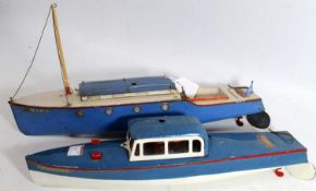 Two Hornby boats: 'Viking' cruiser, blue and white, complete, noticeable chips particularly to edges