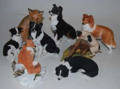 A Border Fine Arts figure of a terrier and prey on a naturalistic base, signed Ann Wall 79, height