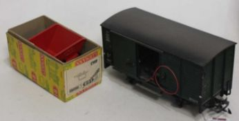 A Lehmann LGB goods wagon; together with a goods wagon; Italeri No.778 classic fire truck scale