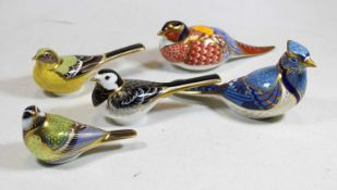 A Royal Crown Derby porcelain desk weight in the form of a pheasant, with gold stopper, h.7cm;
