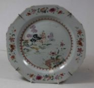 A 19th century Chinese export famille rose plate, decorated with flowers, dia.22cmCondition