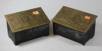 An early 20th century miniature coffer, the hinged brass sloping lid decorated with a farmyard