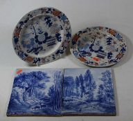 A pair of early 19th century Masons plates, together with a pair of 19th century French blue and