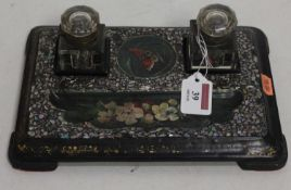 Victorian papier mache and mother of pearl inlaid desk stand, w25cm d18cm
