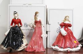 A Royal Worcester porcelain figure of 'Jennifer' height 26cm, together with a Royal Doulton