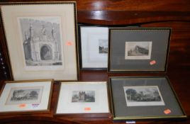 Assorted topographical engravings of Bury St Edmunds landmarks (6)
