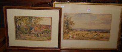 E.A. Jones - Bisham, watercolour, 24 x 35cm; and one other being a harvest scene, 27 x 47cm (2)