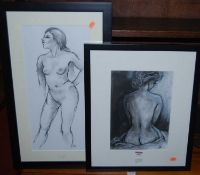 Female nudes, two modern charcoal studies
