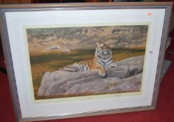 After Anthony Gibbs (c.1951) - Quizzical Quadruped, depicting a tiger resting on a rock by a