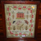 A mid-19th century needlework picture sampler, by Elizabeth Bars, aged 13, dated 1855, 39 x 32cm, in