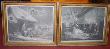 After George Morland - Pair; No.9 Breaking the Ice and Milkmaid & Cow-herd, monochrome engravings,