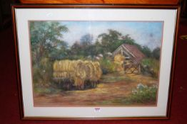 Margot Arridge - The hay-wagon, pastel, signed lower right, with Mall Galleries exhibition label