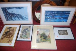 Assorted pictures and prints, and a walnut framed oval wall mirror (6)