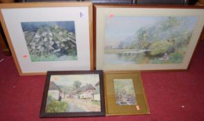 Betty Whitefield - Figures on the riverbank, pastel; and three other amateur watercolours (4)
