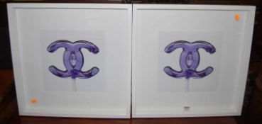 Coco Chanel - pair of prints, each 28 x 29cm, and in glazed box frames
