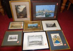 Assorted pictures and prints, to include topographical engravings (8)