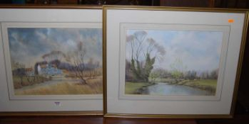 Peter Solly - Pair; Spring near Lyng and Elsing Mill, watercolours with body colour, 36 x 46cm