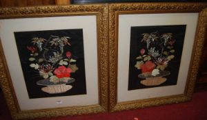 A pair of 1930s floral silk pictures, 45 x 37cm