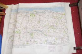 A quantity of Ordnance Survey maps of Norfolk, unframed