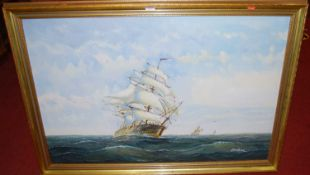 Contemporary school - Clipper ships on choppy seas, oil on canvas, indistinctly signed, 60 x 90cm