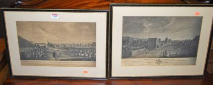 After J Kendall - Angel Hill in Bury St Edmunds, steel engraving; and one other by the artist - View