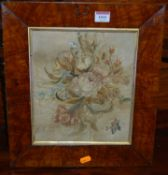 A 19th century silkwork, featuring flowers and insects, 26 x 22cm, housed in a glazed burr oak