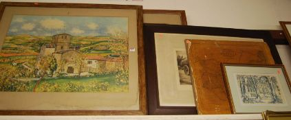 Assorted pictures and prints, to include Morris Ultrillo, Railway & Station Map of Suffolk etc
