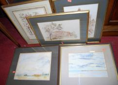 Sylvia Horder- Landscape watercolours; together with other furnishings pictures and prints (9)