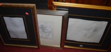 After Rodin - Female nude, lithograph, 28 x 19cm; and two other female nude studies after Old
