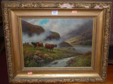 19th century school - Cattle in a Highland landscape, oil on card, 29 x 39cm