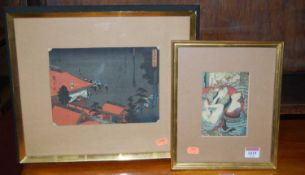 A Japanese erotic woodblock print, 14 x 10cm; and one other (2)