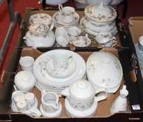 A continental part tea and dinner service, the white ground with pink floral decoration; together