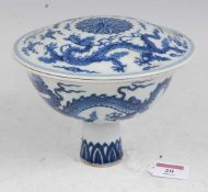 A Chinese export blue & white stem cup and cover, underglazed blue decorated with dragons amidst