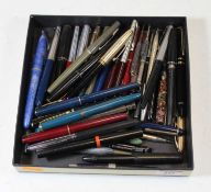 A collection of assorted fountain and ballpoint pens, to include Conway Stuart 106 and 150, Parker