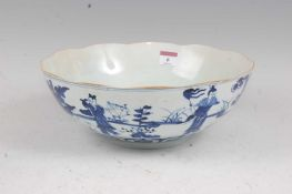 A Chinese export porcelain blue & white bowl, the interior decorated with a seated figure, the