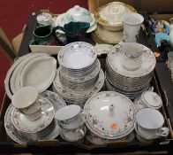 Two boxes containing a collection of various ceramics to include a China Pearl, Josephine pattern