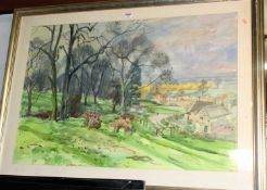 David Birch - A View of Chipping Campden, watercolour and wash, signed and dated 1994 lower right,