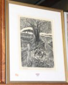 Campbell - March Hare, woodblock, signed and titled in pencil to the margin, 36 x 26cm