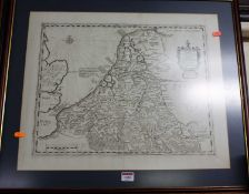 A circa 1700 engraved map of Belgium and Holland, later hand-coloured, 39 x 50cm; together with a