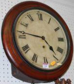 A Victorian mahogany circular wall clock, having a repainted dial, single winding hole with thirty
