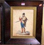 19th century school - The Irish Farmer, watercolour, 28 x 21cm, in probably original rosewood