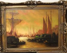Russian school - Harbour scene at sunset, oil on canvas, signed lower right, 28 x 38cm