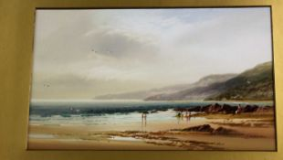John Shapland (1865-1929) - coastal scene, watercolour, 27x45cm