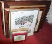 Assorted prints, pine framed wall mirror etc
