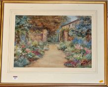 John Douglas Lawley (1906-1971) - A Continental Garden, watercolour with body colour, signed with